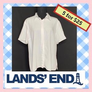 Lands End White Button Up Short Sleeve Shirt 18